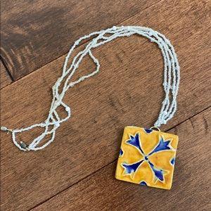 Anthropologie beaded ceramic necklace white blue